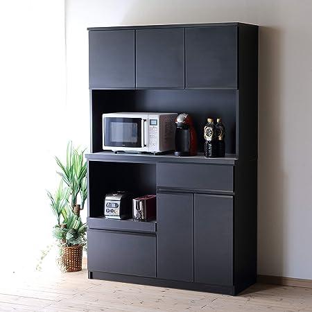 食器棚 レンジ台 コンセント付 キッチンボード ナポリ 幅116.3(120) 完成品 カラー5色(エレガンスブラック) おしゃれ