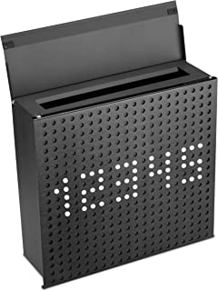 PEELCO Decorative Mailbox Locking Residential Mail Box with Numbers - Custom Design - Rust & Weather Proof Galvanized Stainless Steel - 2 Spare Keys - USPS Approved (Matte Black)