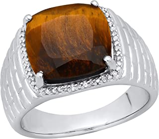 Dazzlingrock Collection 10 mm Cushion Tiger Eye Stone & Round White Diamond Mens Wedding Ring, Sterling Silver
