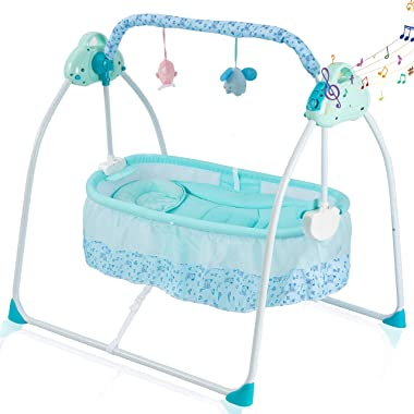Baby Cradles Electric Bassinets for Baby Soothing Baby Portable Folding Rocking Bassinets with 3-speeds Swings Breathable Net