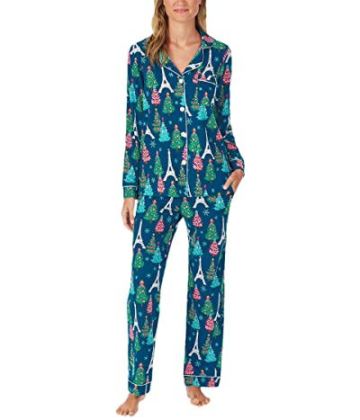 BedHead Pajamas Long Sleeve Classic Notch Collar Pajama Set (Cotton Spandex) (Parisienne Holiday) Women