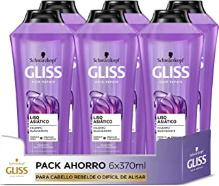 GLISS - Champú Liso Asiático - 6uds de 370ml (2.220ml) – Para cabello rebelde o difícil de alisar – Gama alisado fácil