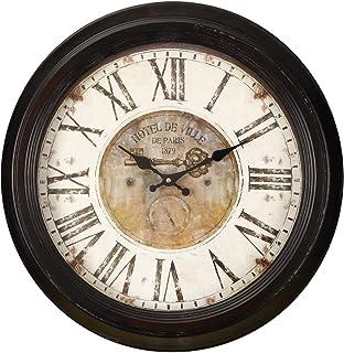 Asense Retro Vintage-Inspired Circular Wall Clock with Various Theme (Hotel De Ville)