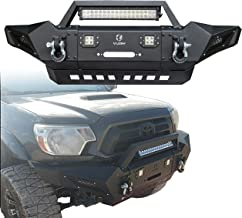 Vijay Front Bumper Texture Black with 4 x 18 W LED Aluminum Alloy Light and Winch Bracket and 2 x 4.75 T D-Ring for 2005-2015 Tacoma