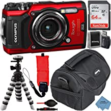 دوربین دیجیتال Olympus Tough TG-6 همراه با بسته لوازم جانبی لوکس - شامل: کارت حافظه SanDisk Ultra 64 GB کارت سه بعدی انعطاف پذیر پارچه افراطی بیشتر (قرمز)