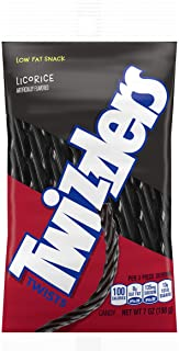 TWIZZLERS Licorice Candy, Black Licorice, 7 Ounce (Pack of 12)