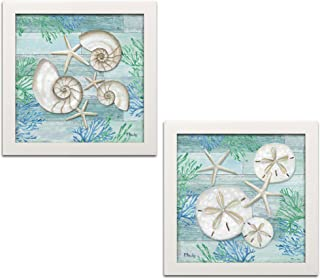 Gango Home Decor Coastal Watercolor Beach Decor   Blue, Green & Cream Shell, Sand Dollar & Starfish Nautical by Paul Brent (Ready to Hang); Two 12x12in White Framed Prints