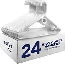 Neaties White Heavy Duty Plastic Hangers with Large Accessory Hook and Strap Hooks, 24pk
