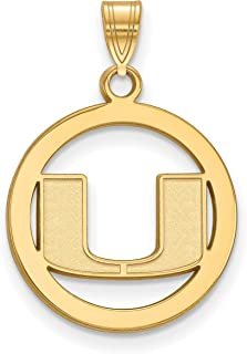 University of Miami Hurricanes School Letter Logo Round Pendant Gold Plated 19x18mm