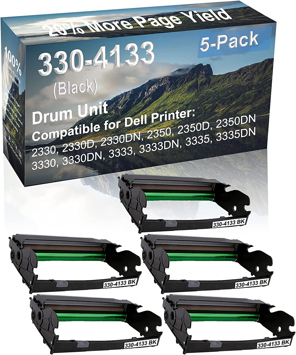 5-Pack Compatible Drum Unit (Black) Replacement for Dell 330-4133 Drum Kit use for Dell 3333, 3333DN, 3335, 3335DN Printer