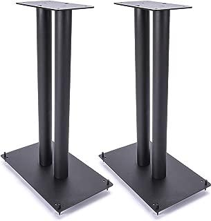 """Vega A/V Systems 24"""" Heavy Duty, Steel Speaker Stands   Fillable   For Medium to Large Bookshelf Speakers   Set of 2   Steel Carpet Spikes   11"""" x 11"""" 4mm Steel Base, 6"""" x 6"""" Speaker Pedestal"""