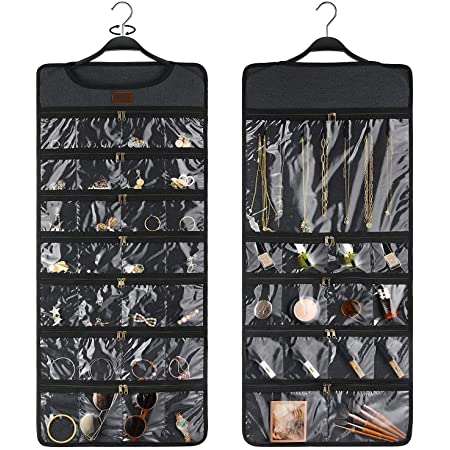 SMRITI Hanging Jewelry Organizer, Canvas Jewelry Zippered Organizer, Wall Mount Storage Bag for Earrings Necklace Bracelet, Double Sided Rotating Hanger Dustproof Accessories Display Holder(Dark Grey)