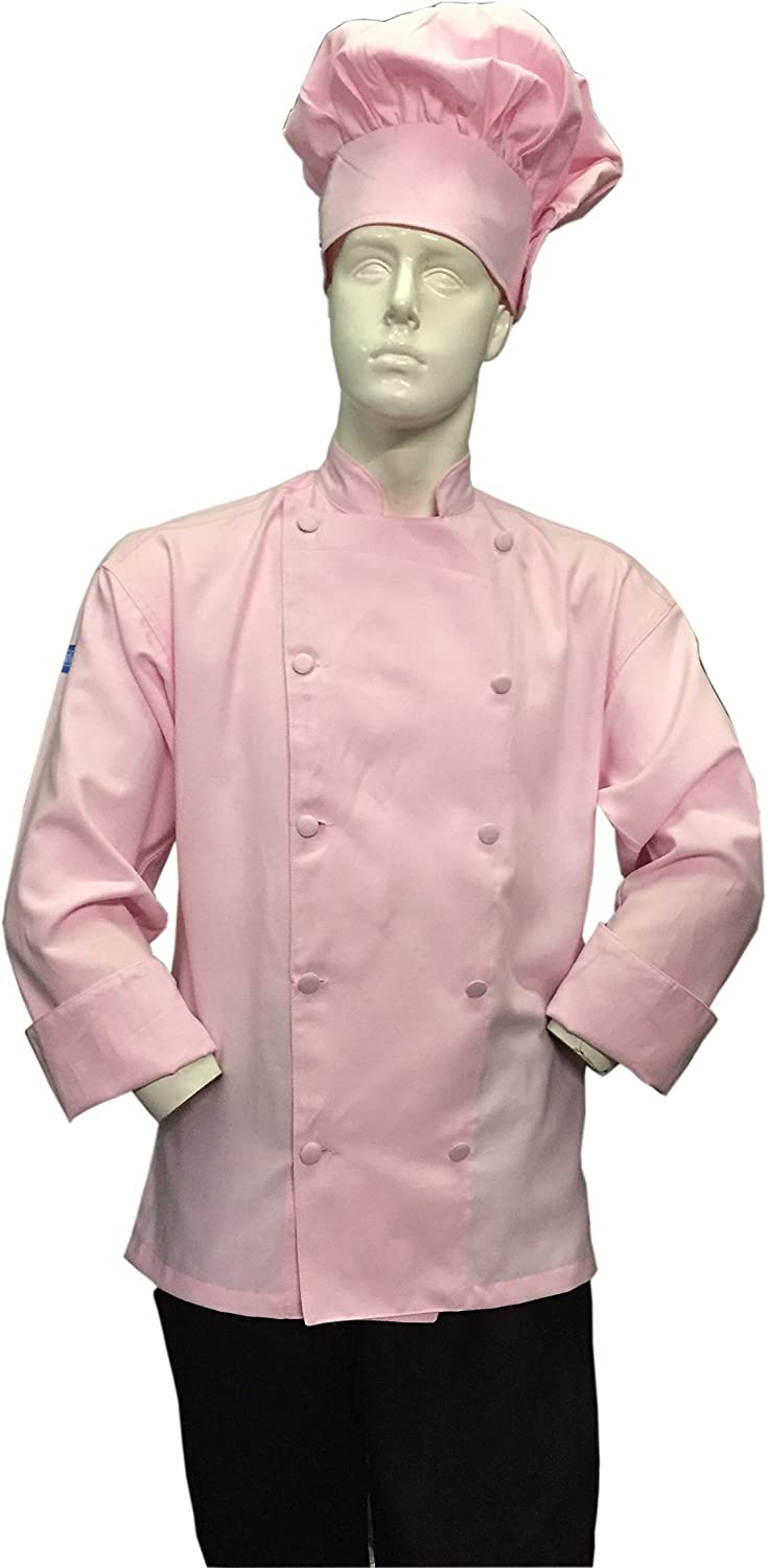 CHEFSKIN Soft Max 46% OFF Pink Chef Jacket Beaut Fabric Coat Twill Large discharge sale Cool