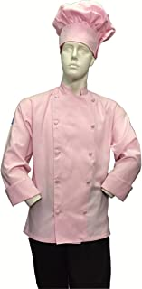 Soft Pink Chef Jacket Coat Cool Soft Twill Fabric Beautiful + Hat