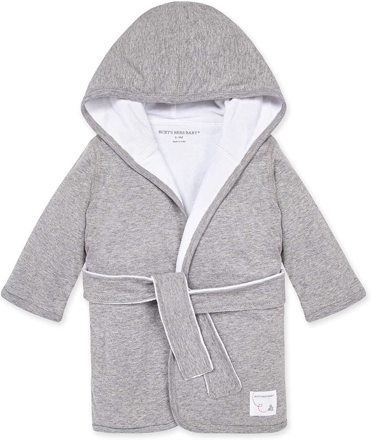 Burt's Bees Baby baby-girls Bathrobe, Infant Hooded Robe, Absorbent Knit Terry, 100% Organic Cotton, 0-9 Months