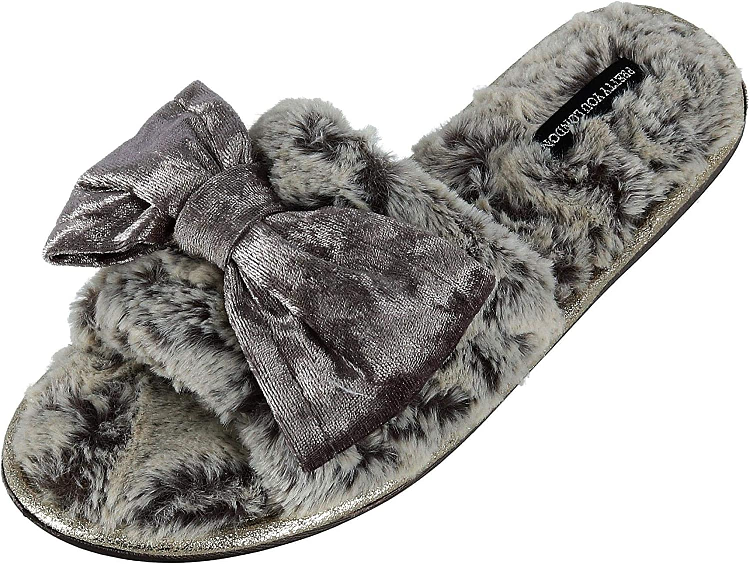 Pretty You London Women's Amber Slide Slipper with Bow