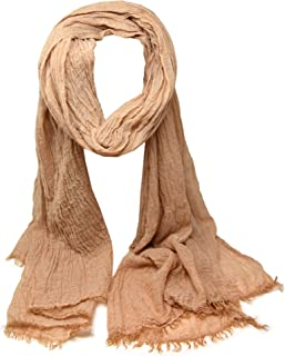 azzesso Damen Schal Ines ca. 190 x 70 cm/einfarbiges Tuch mit Fransen/Halstuch in 11 verschiedenen Farben/Damen Accessoire vom italienischen Mode Profi