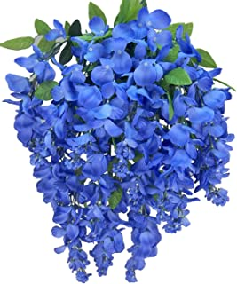 Artificial Wisteria Long Hanging Bush Flowers - 15 Stems For Home, Wedding, Restaurant and Office Decoration Arrangement, Periwinkle