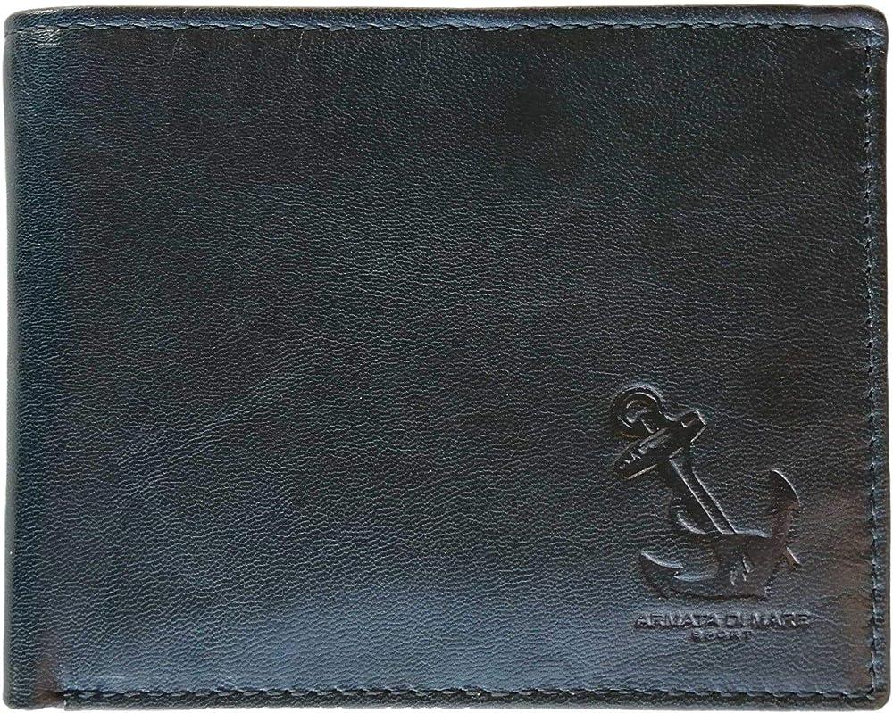 Armata di mare portafoglio, porta carte di credito per uomo, in pelle NERO