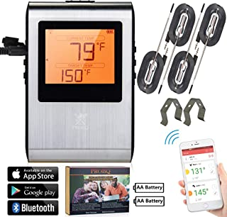 Wireless Meat Thermometer, Smart Bluetooth Digital Cooking, BBQ Grill Smoker Kitchen Oven, High Low and Range Temperature Alerts, Supports IOS Android, Long Distance High Temp, (4)