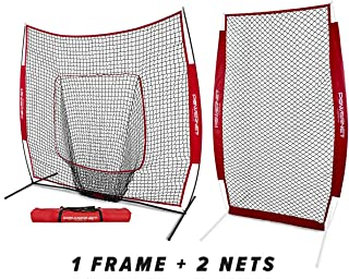 PowerNet Baseball Softball Practice Net 7x7 Bundle + I-Screen (1 Frame + 2 Nets)   Training Aid Equipment   Instant Pitcher Barrier from Line Drives Grounders   Front Toss   Hitting Fielding Drills