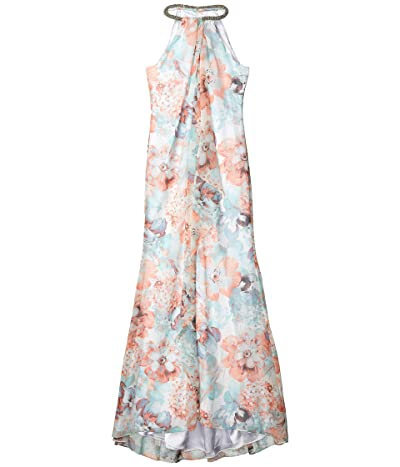 Calvin Klein Floral Print Gown with Beaded Neck (Carntion Multi) Women