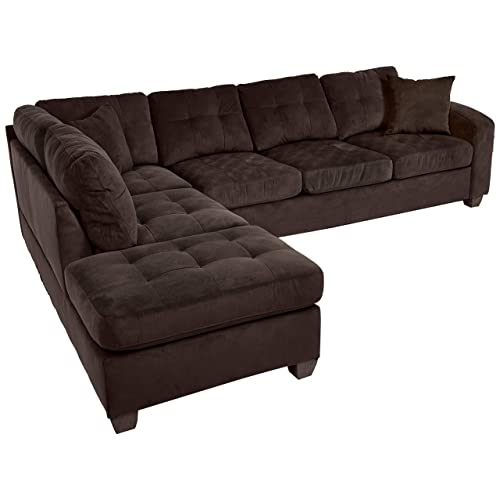 Superieur Homelegance 2 Piece Sectional Sofa Polyester With Reversible Chaise And Two  Toss Pillows, Chocolate
