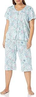 Women's Short Sleeve Cardigan Crop Pajama Set Pj