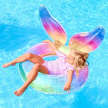 QDH Inflatable Pool Float Swim Ring with Glitter Rainbow Wings