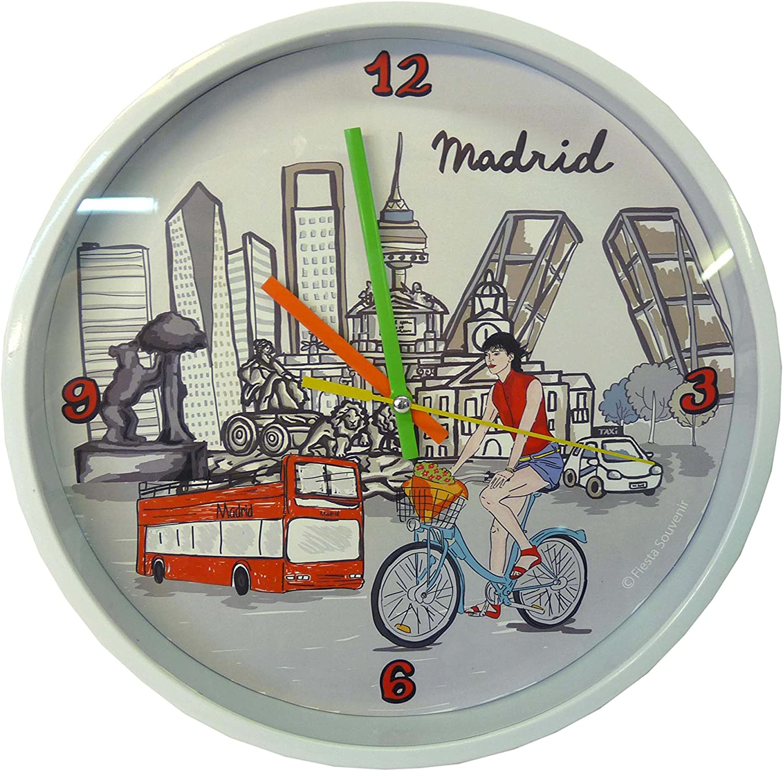 Nadal Reloj Grande Madrid En Bicicleta, Multicolor, 24,9 x 24,9 x 3,9 cm