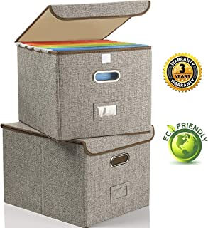 Collapsible File Box with Lid [2-Pack] Decorative Documents Storage Organizer with Linen Filing, Home Office Bin, Letter Size Legal Size, Gray