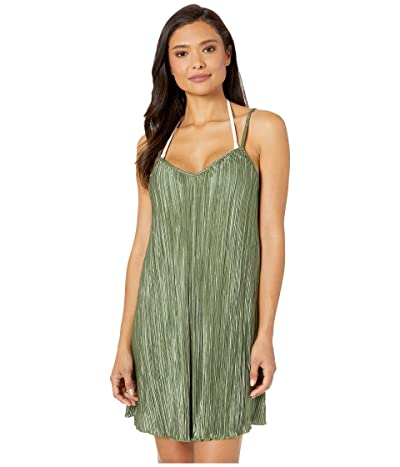 Kenneth Cole Pleated Perfection Slip Dress Cover-Up (Olive) Women