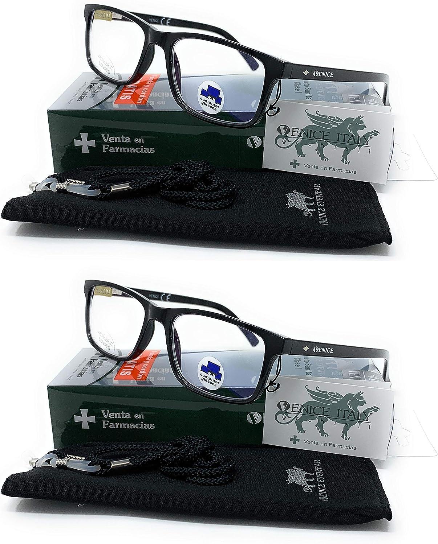 VENICE EYEWEAR OCCHIALI | Gafas ver de cerca, lectura con Filtro Luz Azul, Ordenador Gaming Móvil, Protección Antifatiga - Venice Coti Dioptría (1-1,50-2 - 2,50-3 - 3,50) (Pack 2 unidades Black, 1,50)