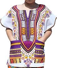 RaanPahMuang Childrens African Dashiki Short Sleeve Shirt in White Tones