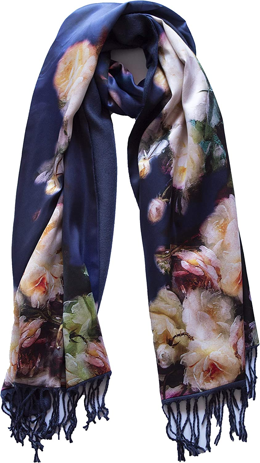 Westlook's Women's Premium silk and Cachmere Scarf Large Hand Painted Silk and Cashmere Scarf Fashion Accessory 72