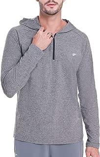 EZRUN Men's Workout Hoodies Lightweight Pullover Long-Sleeve Hooded T-Shirt Quarter-Zip Thermal Sweatshirt