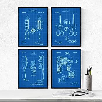 Nacnic Azul - Pack de 4 Láminas con Patentes de PELUQUERIA. Set de ...