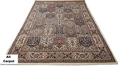 Ali Carpet Luxury Kashmiri Traditional Persian Design Silk Touch with 1 .00'' INCH Thickness Approx Carpet for Living Room and Bed Room -Ivory Color (90 X 150 cm) 3 Feet by 5 Feet