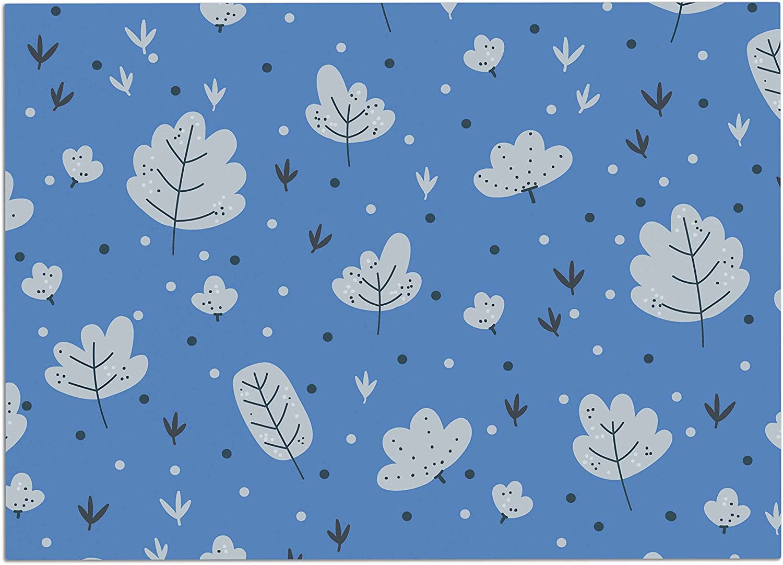 KESS InHouse Strawberringo Autumn Leaves bluee Nature Dog Place Mat, 24  x 15