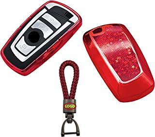 Key Fob Case Premium Soft TPU Protection Smart Remote Keyless Key Cover with Keychain Fit for BMW 1 3 4 5 6 7 Series X3 X4 M5 M6 GT3 GT5 3/4 Button Keys