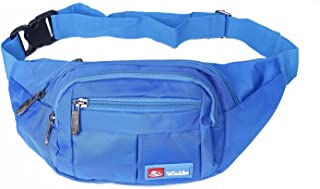 (Blue) - Toudorp Fanny Pack 4 Pockets Waist / Bum Bag 70cm - 110cm Adjustable Belt for Men and Women Running, Cycling and Fishing