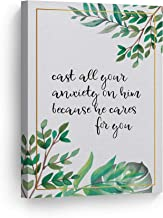 Cast All Your Anxiety On Him Because He Cares for You Quote Hand Lettering Scripture Wall Art Bible Verse Canvas Print Home Decor Stretched Ready to Hang-%100 Handmade in The USA- 36x24