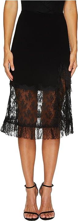 Sonia Rykiel - Crepe Satin & Dentelle Skirt