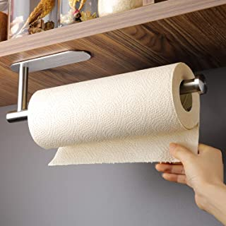 XBRN Paper Towel Holder Under Kitchen Cabinet - Self Adhesive Towel Paper Holder Stick on Wall, SUS304 Brushed Stainless Steel (No Drilling)