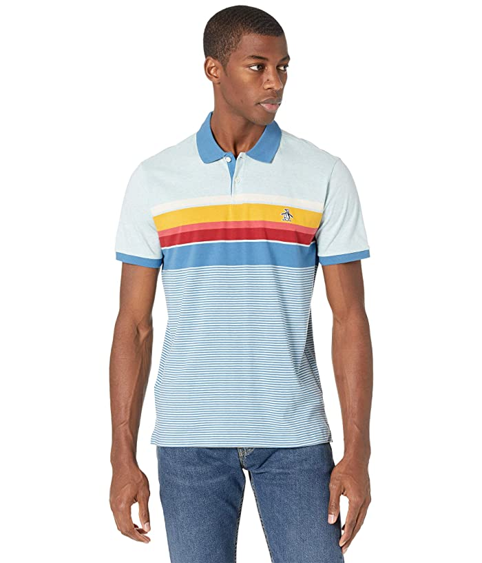 80s Men's Clothing | Shirts, Jeans, Jackets for Guys Original Penguin Short Sleeve Engineered Stripe Polo Mens Clothing $40.99 AT vintagedancer.com