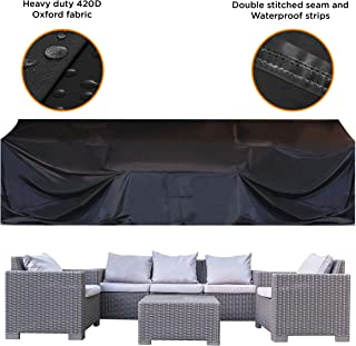 "JOORY Patio Furniture Cover Outdoor sectional Furniture Covers Waterproof Dust Proof Furniture Lounge Porch Winter Sofa Cover Protector D126""x W63""x H28"" - Double Stitched Seam and Waterproof Strips"