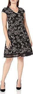 Sandra Darren womens 1 PC Cap Sleeve V-Neck Bullet knit Fit & Flare Dress Business Casual Dress
