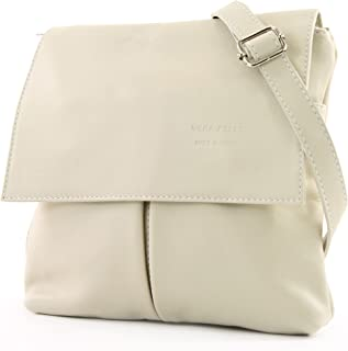 Italian bag shoulder bag messenger satchel women's bag real leather T63 (Cream)
