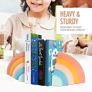 Decorably Rainbow Bookends for Kids - Rainbow Decor for Nursery Bookends, Cute Kids Book Ends, Book holders for Shelves, Kids