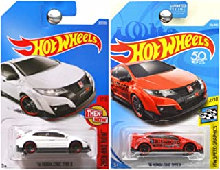Hot Wheels 2017 and 2018 Then Now Speed Graphics 2016 Honda Civic Type R Bisimoto White Red SET OF 2